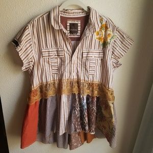 PRANA Peasant Blouse w/Flower Embroidery
